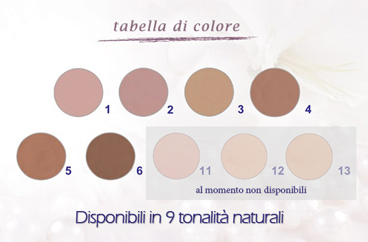 tabella colori covermark luminous make-up